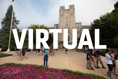 "Burruss Hall with the word ""Virtual"" over it."