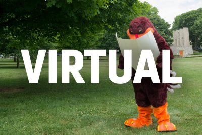 "HokieBird with a map with the word ""Virtual"" over it."