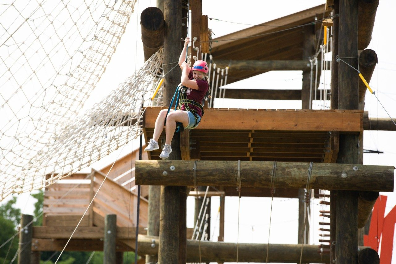 Scholars engage in Venture Out Challenge Course during summer camp programming.