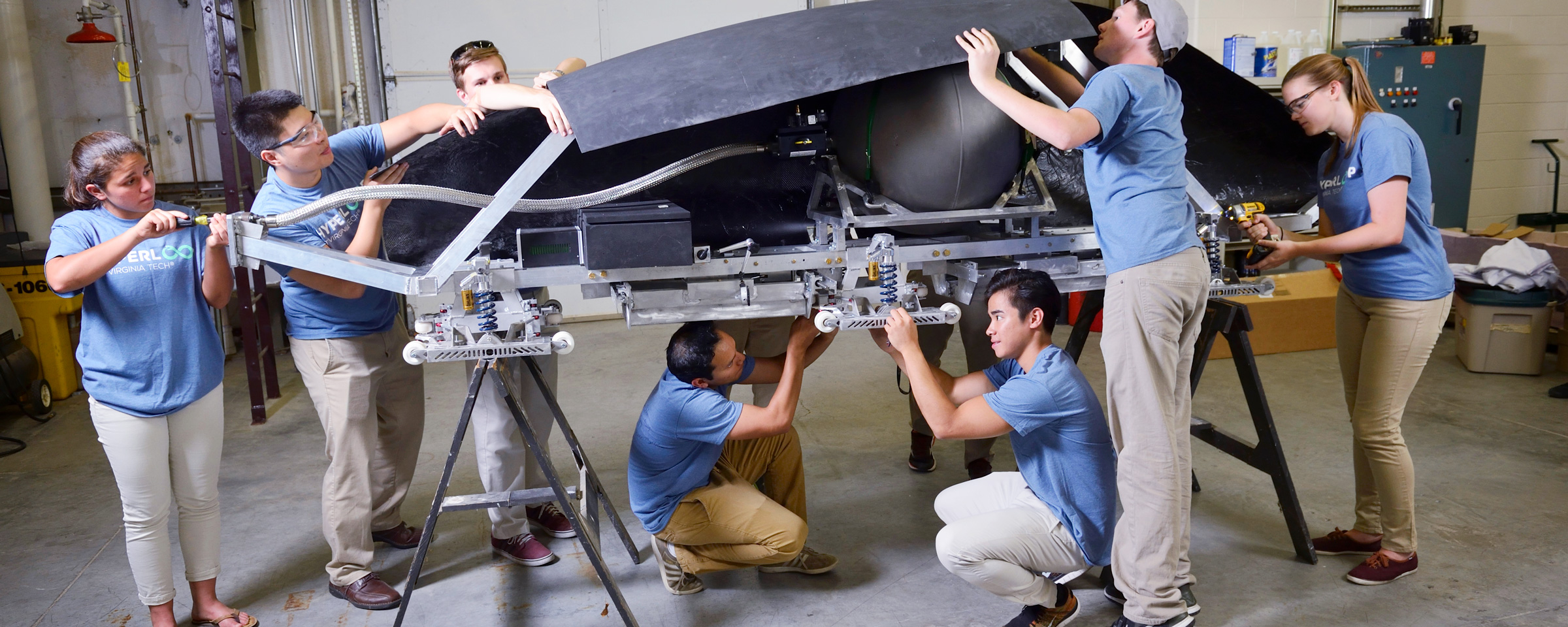 Students working on a Hyperloop vehicle