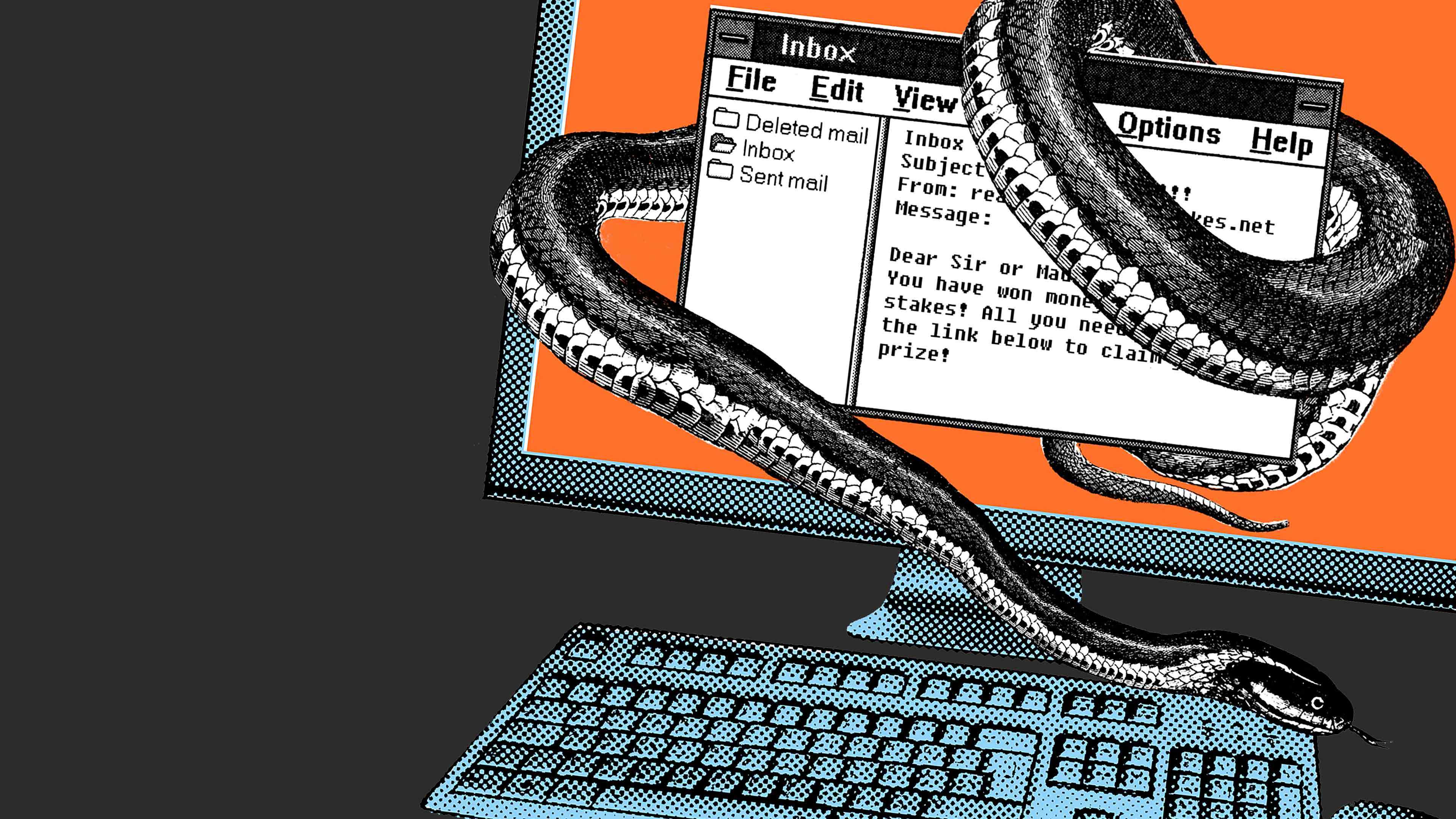 An illustration of a snake wrapping around an email inbox screen on a computer.