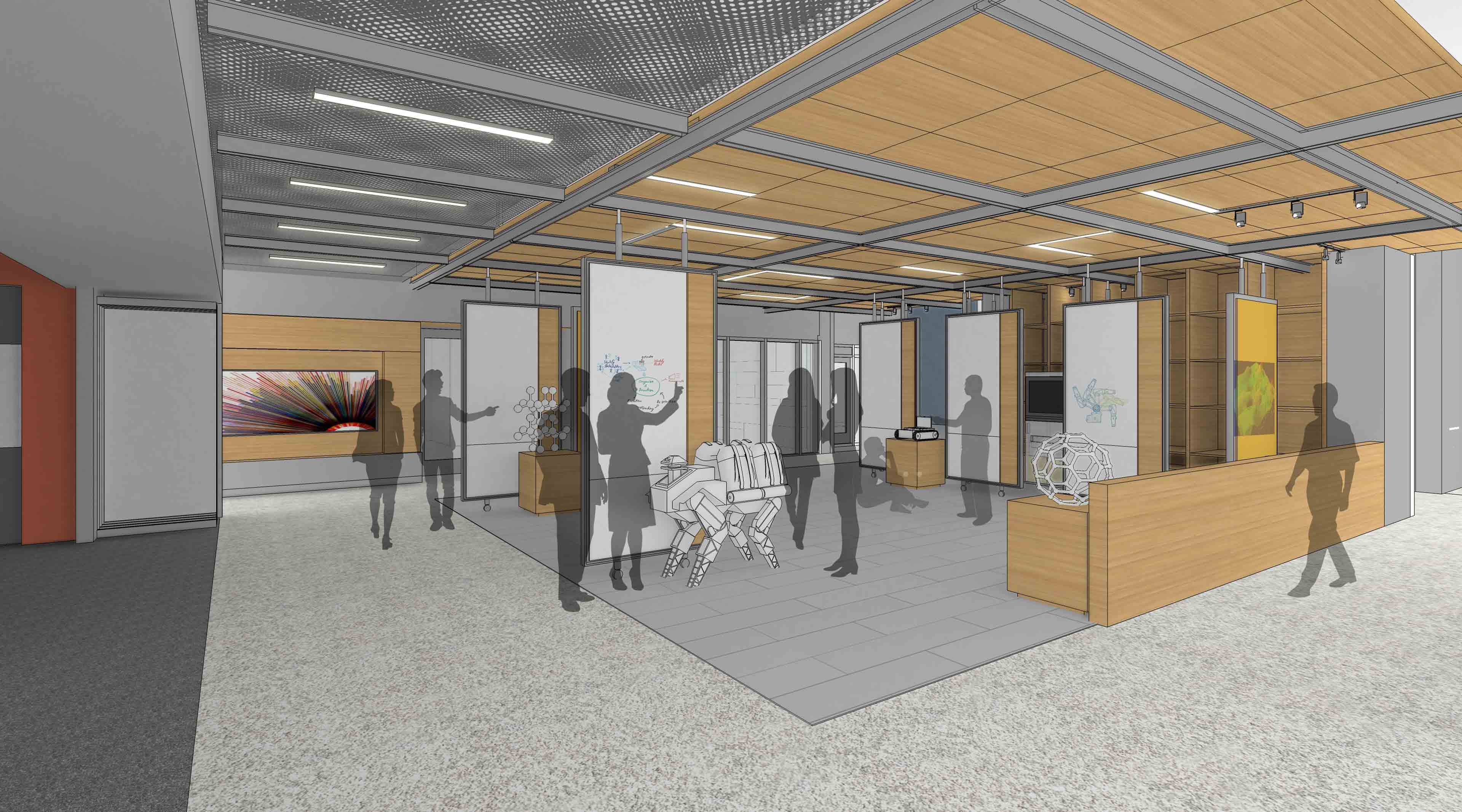 Drawing of a future Holden Hall space for computation and student/faculty concept exploration.