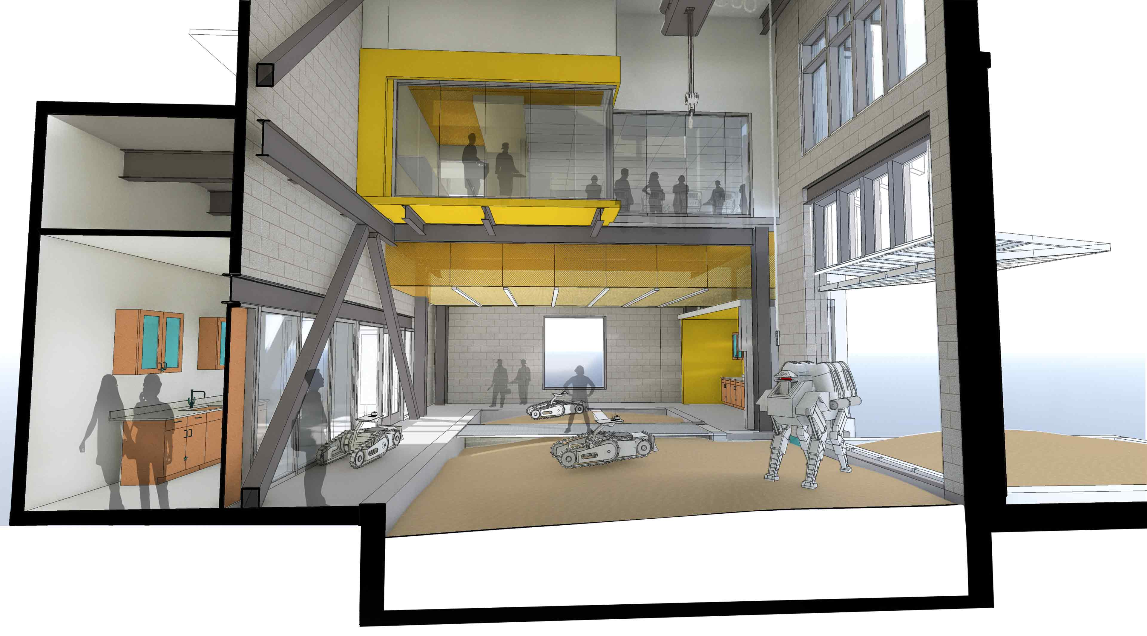 Center for Autonomous Mining and Robotics lab drawing of a new interior space.