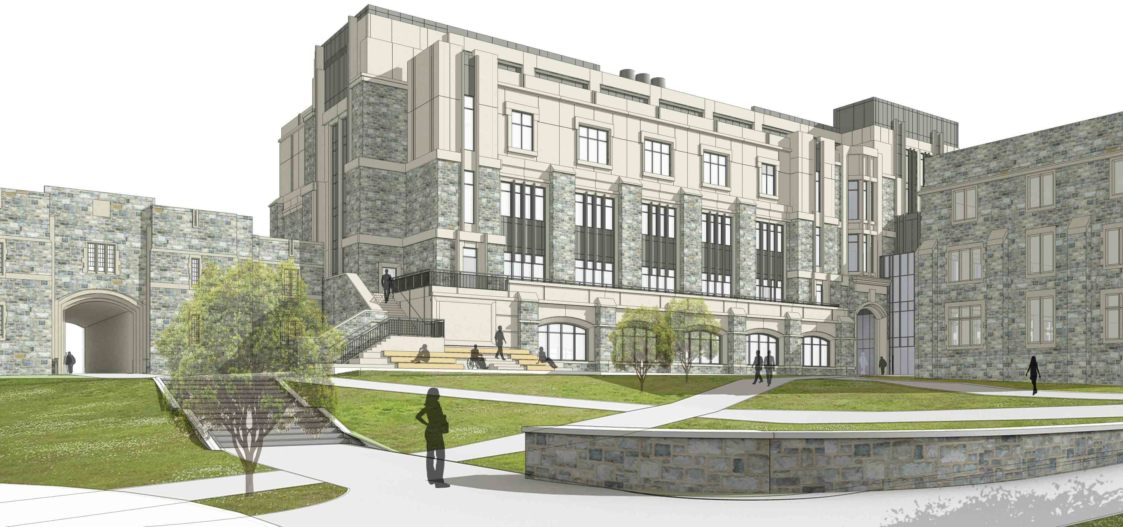 Architectural drawing of the new exterior of Holden Hall.