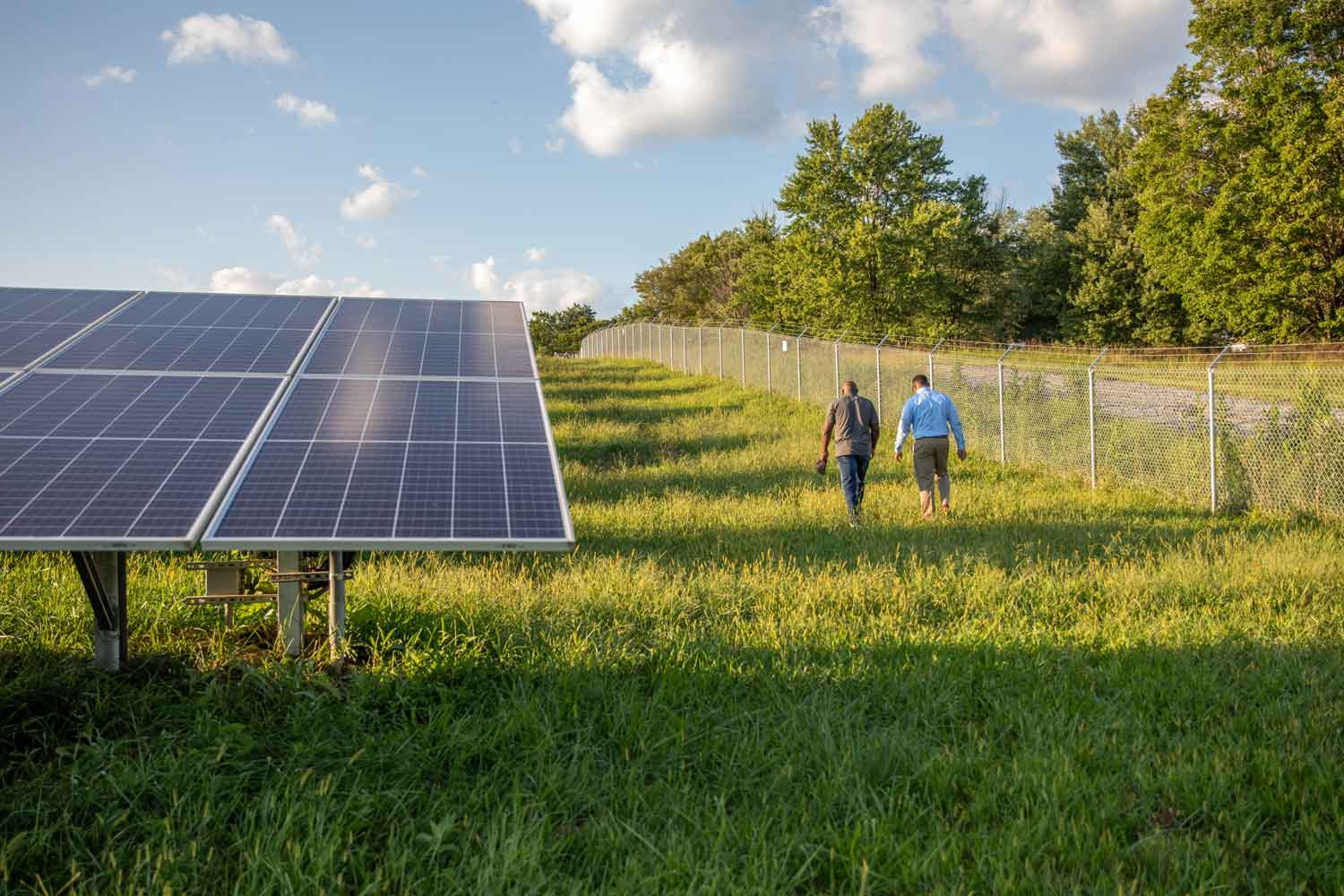 Rob and Walter walk off into the distance in a field of solar panels.