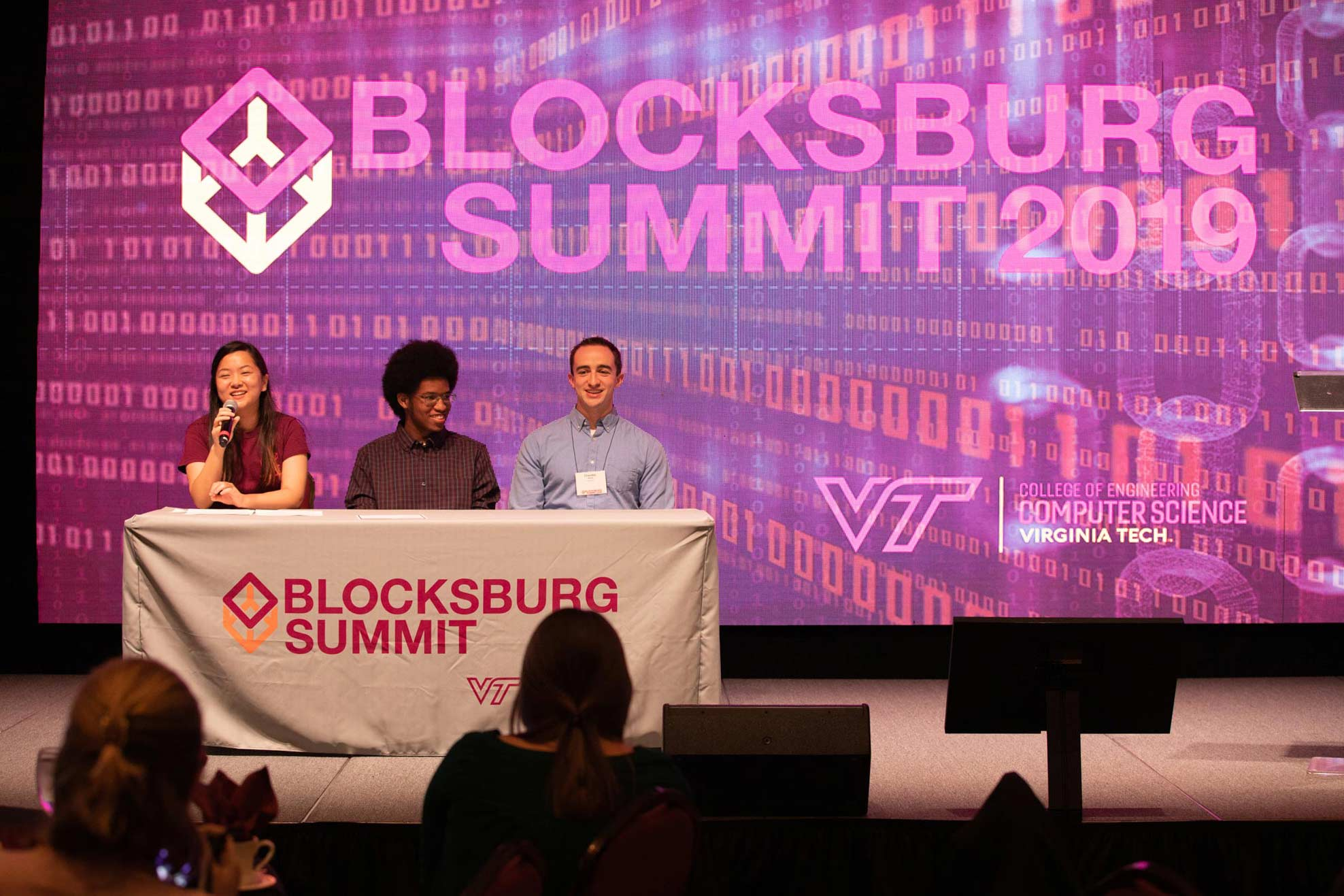 Blockchain Bois present their project at the Blockchain Summit.