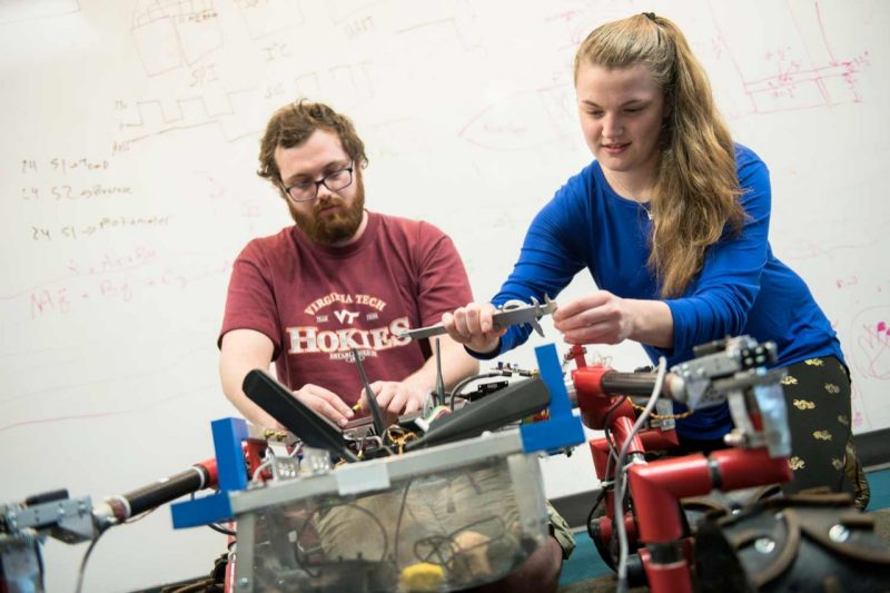 Virginia Tech Engineering students working on a rover