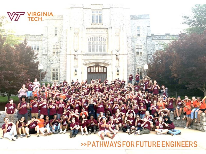 Group photo of Pathways for Future Engineers, 2019 Summer Cohort of Rising 10th, 11th, and 12th graders across state of Virginia. 151 students and 26 staff are pictured.