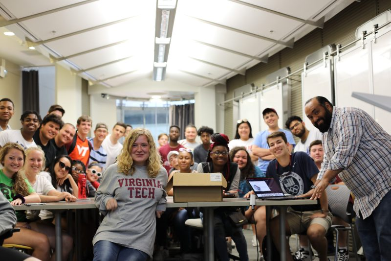 Pathways 2019 Scholars engage with Dr. Murzi from the Department of Engineering Education at Virginia Tech. By engaging with faculty, staff, and current students from across the College of Engineering, Pathways Scholars form a community of support at Virginia Tech.
