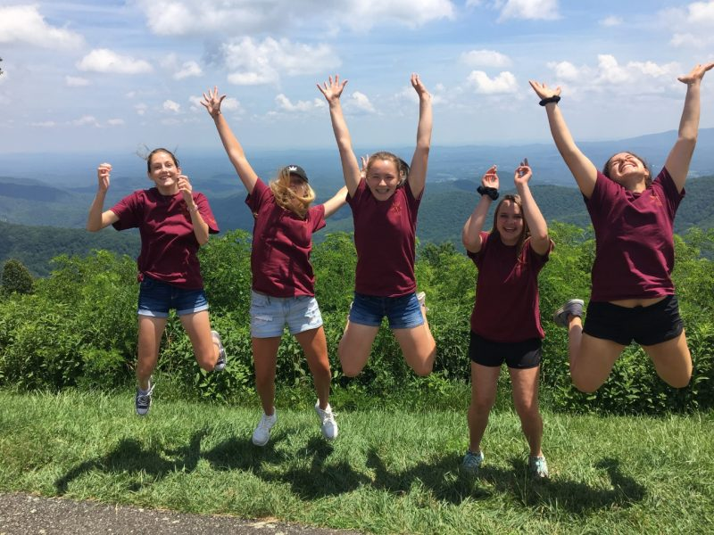 C-Tech^2 participants jumping at Blue Ridge Parkway overlook
