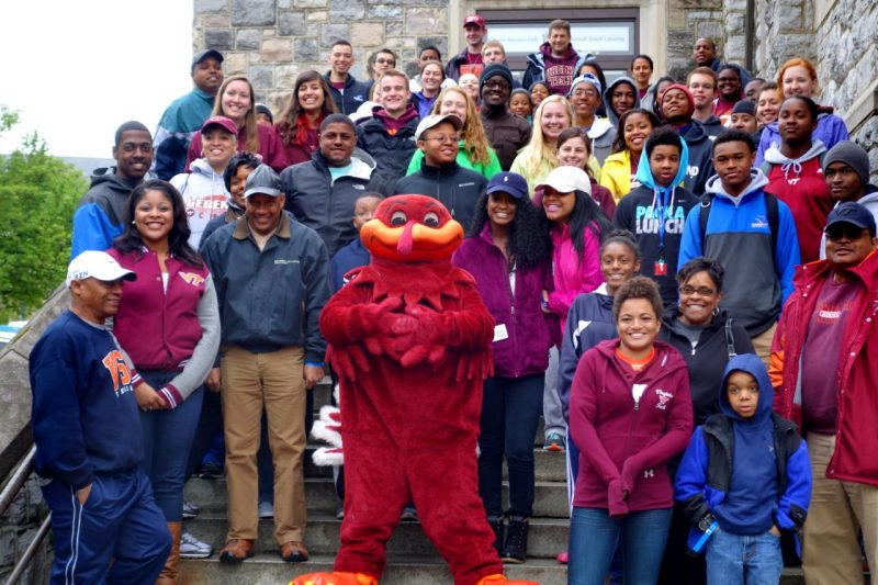 CEED alumni and students with Hokie bird